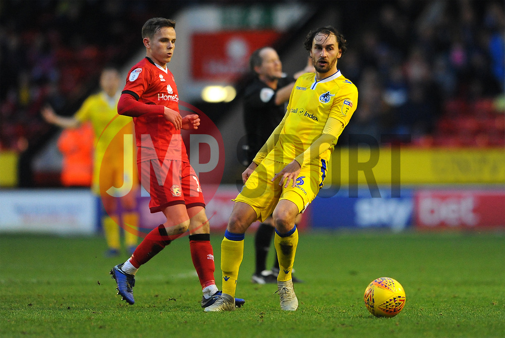 Edward Upson of Bristol Rovers is challenged by Liam Kinsella of Walsall- Mandatory by-line: Nizaam Jones/JMP - 26/12/2018 - FOOTBALL - Banks's Stadium - Walsall, England- Walsall v Bristol Rovers - Sky Bet League One