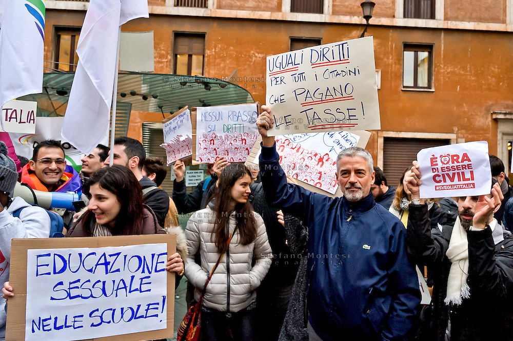 Rome, Italy. 2th Febraury 2016<br /> Supporters of same-sex civil union rally in front of the Italian Senate in support of the bill Cirinnà, to grant legal recognition to 'civil unions', including of homosexual couples, without equating those partnerships to marriage, that will begin to be voted in the Senate today.