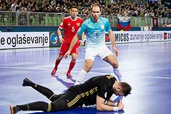 Georgi Zamtaradze of Russia and Kristjan Cujec of Slovenia during futsal quarterfinal match between National teams of Slovenia and Russia at Day 7 of UEFA Futsal EURO 2018, on February 5, 2018 in Arena Stozice, Ljubljana, Slovenia. Photo by Urban Urbanc / Sportida