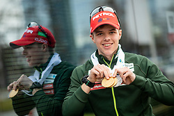 Alex Cisar posing with 2 gold and 1 silver medals during reception of Slovenia Youth Biathlon Team after 2019 IBU Youth & Junior World Championship Biathlon in Osrblie, Slovakia, on February 5, 2019 in Zavarovalnica Triglav, Ljubljana, Slovenia. Photo by Vid Ponikvar / Sportida