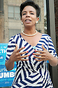 17 August- New York, NY:  New York City Council Candidate Laurie Cumbo attends the endorsement announcement by U.S.Congressman Hakeem Jeffries of Laurie Cumbo for City Council District 35 held at the Laurie Cumbo Campaign Headquarters in the Prospect Heights section of Brooklyn, NY on August 17, 2013 in New York City. © Terrence Jennings