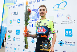 Third placed Davide Gabburo of Neri Sottoli Selle Italia KTM celebrates at trophy ceremony after the cycling race 6. VN Slovenske Istre / 6th Slovenian Istra Grand Prix, on February 24, 2019 in Izola/ Isola, Slovenia. Photo by Vid Ponikvar / Sportida