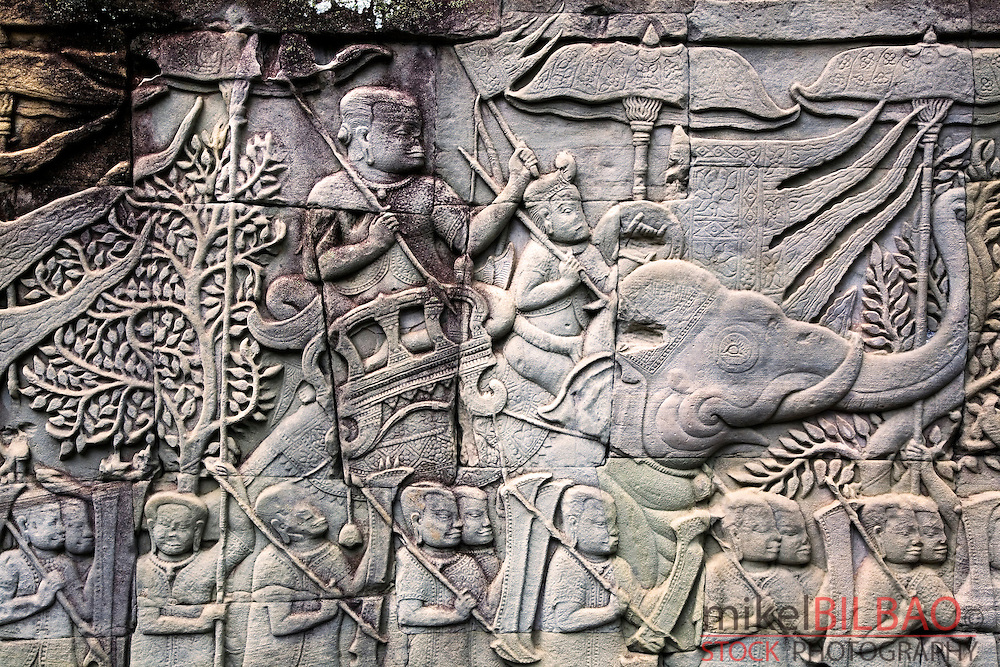 Khmer army bas-relief. Angkor Thom temple.<br />