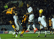 Chuba Akpom of Hull City heads for goal during the Sky Bet Championship match at Elland Road, Leeds<br /> Picture by Graham Crowther/Focus Images Ltd +44 7763 140036<br /> 05/12/2015