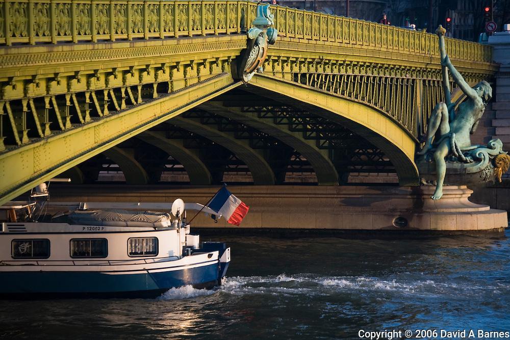 Art Nouveau bridge, boat, Pont Mirabeau, Paris, France