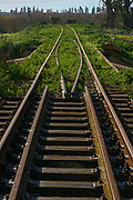 Disused train station and tracks. Photographed in Hadera, Israel
