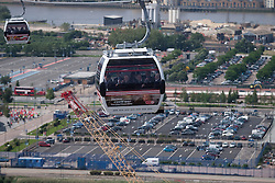 © Licensed to London News Pictures. 28/06/2012. LONDON, UK. The new cable car system, running across the River Thames between the Greenwich Peninsula and the Royal Docks in East London, was today opened to the public, despite fears that it would not be ready in time for the London 2012 Olympics. Photo credit: Matt Cetti-Roberts/LNP