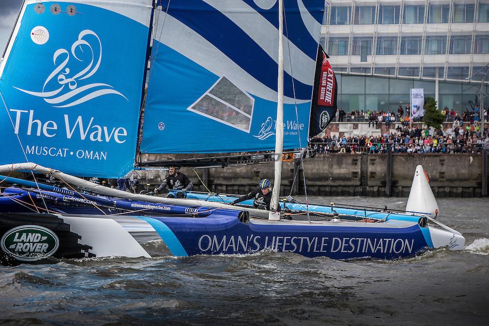 2015 Extreme Sailing Series - Act 5 - Hamburg.<br /> <br /> Credit Jesus Renedo. The Wave, Muscat skippered by Leigh McMillan (GBR) and crewed by Sarah Ayton (GBR), Pete Greenhalgh (GBR), Ed Smyth (NZL), Nasser Al Mashari (OMA).