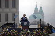 The President of the United States Barack Obama during his speech which took place on Sunday the 5th of April at Hradcanske square in front of Prague castle in Czech Republic.