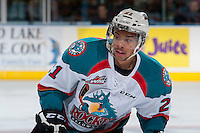 KELOWNA, CANADA - MAY 13: Devante Stephens #21 of Kelowna Rockets skates against the Brandon Wheat Kings on May 13, 2015 during game 4 of the WHL final series at Prospera Place in Kelowna, British Columbia, Canada.  (Photo by Marissa Baecker/Shoot the Breeze)  *** Local Caption *** Devante Stephens;