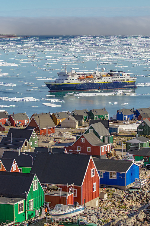 The National Geographic Explorer anchored at Ittoqqortoormiit, in Scoresbysund on Greenland's southeast coast.