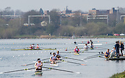 Caversham. Berkshire. UK<br /> Busy Boating Pontoon at the <br /> 2016 GBRowing U23 Trials at the GBRowing Training base near Reading, Berkshire.<br /> <br /> Tuesday  12/04/2016<br /> <br /> [Mandatory Credit; Peter SPURRIER/Intersport-images]