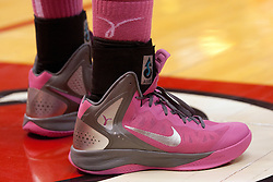 12 February 2012:  Pink Nike sneakers are worn by members of the Redbird team during an NCAA women's basketball game Where the Bradley Braves lost to the Illinois Sate Redbirds 82-63.  It was Play 4Kay day in honor of the cancer research fund set up by Coach Kay Yow at Redbird Arena in Normal IL This image available for EDITORIAL USE ONLY. A release may be required. Additional information by contacting alook at alanlook.com