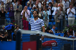 June 24, 2017 - London, United Kingdom - Feliciano Lopez of Spain celebrates after winning the semi final of AEGON Championships at Queen's Club, London, on June 24, 2017. (Credit Image: © Alberto Pezzali/NurPhoto via ZUMA Press)