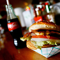 ANNA MARIA ISLAND, FL -- July 9, 2009 -- The famous burger, which was listed on the Top Ten by USA Today, from Duffy's Tavern sits on the bar on Anna Maria Island in Manatee County, Fla., on Thursday, July 9, 2009.  (Chip Litherland for The New York Times)