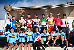 The celebrated riders at Tour Cycliste Féminin International de l'Ardèche 2018 - Stage 5, a 138.4km road race from Grandrieu to Mont Lozère, France on September 16, 2018. Photo by Sean Robinson/velofocus.com