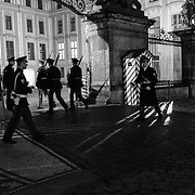 Changing of the guards in the Prague Castle complex in Prague, Czech Republic on 14 November 2014.