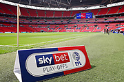 Stadium shot with EFL advertising board in the foreground before the EFL Sky Bet League 1 play-off final match between Rotherham United and Shrewsbury Town at Wembley Stadium, London, England on 27 May 2018. Picture by Nigel Cole.