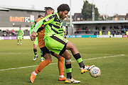 Forest Green Rovers Reuben Reid(26) holds the ball up during the EFL Sky Bet League 2 match between Barnet and Forest Green Rovers at The Hive Stadium, London, England on 7 April 2018. Picture by Shane Healey.