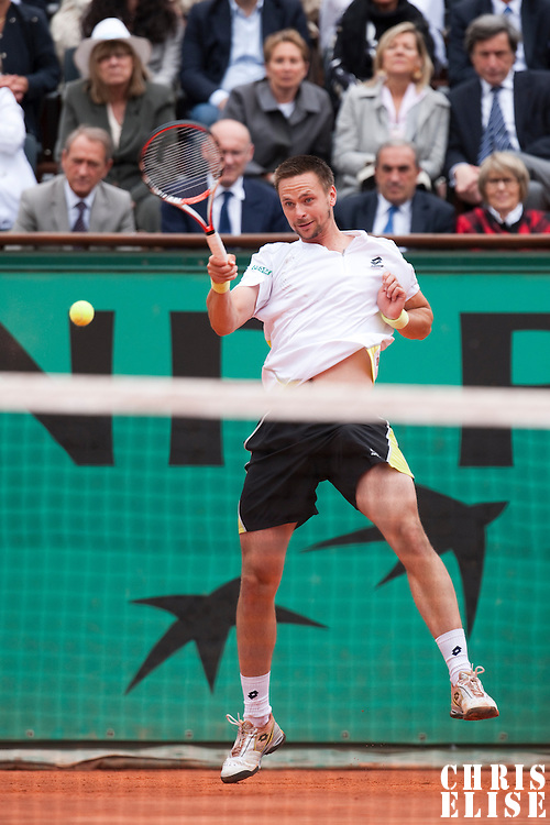 7 June 2009: Robin Soderling of Sweden hits a forehand during the Men's Singles Final match on day fifteen of the French Open at Roland Garros in Paris, France.