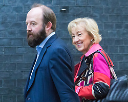 Downing Street, London, October 25th 2016. Environment, food and Rural Affairs Secretary Andrea Leadsom arrives with Policy Advisor Nick Timothy at 10 Downing Street for the weekly cabinet following a Heathrow Third Runway Sub-Committee meeting at the same venue.