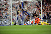 Chelsea striker Michy Batshuayi (23) thinking he had scored but play brough back for foul during the EFL Cup match between Chelsea and Bristol Rovers at Stamford Bridge, London, England on 23 August 2016. Photo by Matthew Redman.