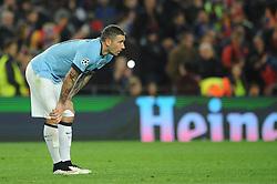 Manchester City's Aleksandar Kolarov cuts a dejected figure - Photo mandatory by-line: Dougie Allward/JMP - Mobile: 07966 386802 - 18/03/2015 - SPORT - Football - Barcelona - Nou Camp - Barcelona v Manchester City - UEFA Champions League - Round 16 - Second Leg