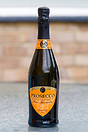 London, England - July 23, 2017: Bottle of Prosecco, An Italian White Wine made from Glera Grapes and named after an Italian Village.