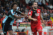 Simon Walton awaits the incoming corner during the Sky Bet League 2 match between Crawley Town and Wycombe Wanderers at the Checkatrade.com Stadium, Crawley, England on 29 August 2015. Photo by Michael Hulf.
