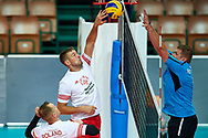 Katowice, Poland - 2017 September 02: (L) Athlete Piotr Bociek from SO Poland spikes the ball while SO Poland versus SO Czech Republic match during European Unified Volleyball Tournament 2017 at Spodek Hall on September 02, 2017 in Katowice, Poland.<br /> <br /> Adam Nurkiewicz declares that he has no rights to the image of people at the photographs of his authorship.<br /> <br /> Picture also available in RAW (NEF) or TIFF format on special request.<br /> <br /> Any editorial, commercial or promotional use requires written permission from the author of image.<br /> <br /> Image can be used in the press when the method of use and the signature does not hurt people on the picture.<br /> <br /> Mandatory credit:<br /> Photo by © Adam Nurkiewicz / Mediasport