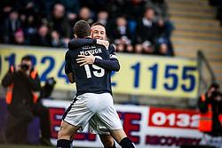 Falkirk's John Baird cele scoring their first goal. <br /> Falkirk 5 v 0 Alloa Athletic, Scottish Championship game played at The Falkirk Stadium. &copy; Ross Schofield