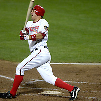 16 May 2007:  Washington Nationals third baseman Ryan Zimmerman (11) reacts to fouling a ball off of his foot in the 5th inning against Atlanta Braves pitcher Kyle Davies.  The Nationals defeated the Braves 6-4 at RFK Stadium in Washington, D.C.  ****For Editorial Use Only****