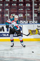 KELOWNA, CANADA - FEBRUARY 2: Dalton Gally #3 of the Kelowna Rockets warms up with the puck against the Kamloops Blazers  on February 2, 2019 at Prospera Place in Kelowna, British Columbia, Canada.  (Photo by Marissa Baecker/Shoot the Breeze)
