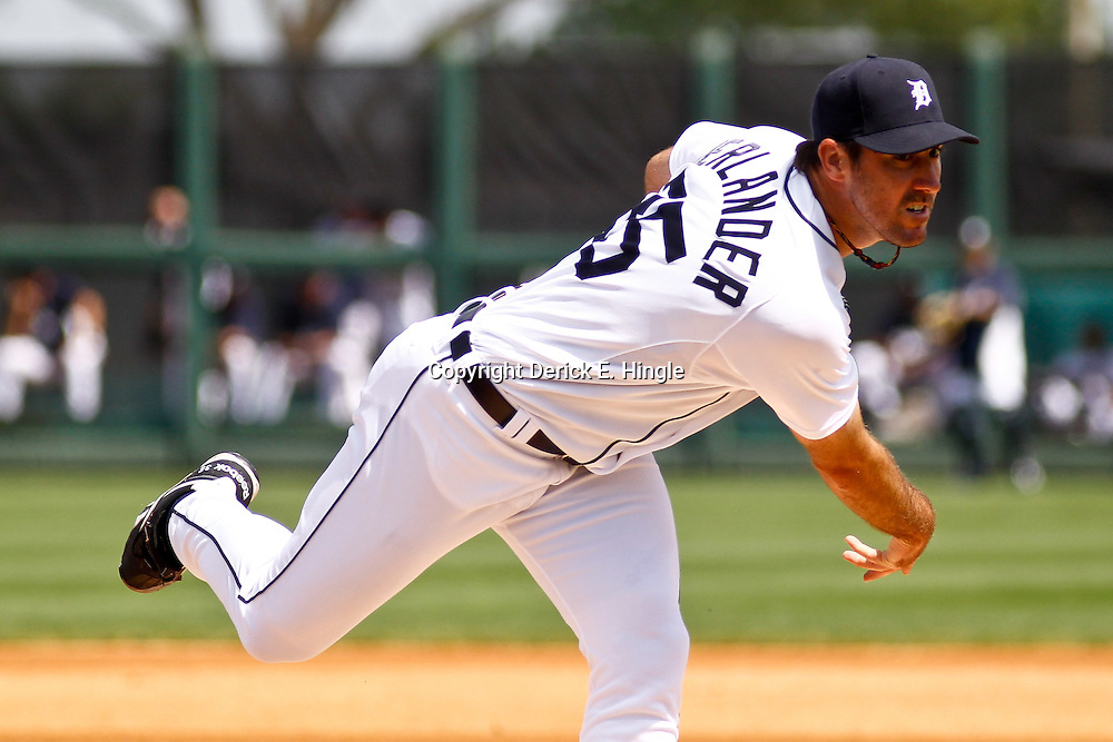 March 10, 2011; Lakeland, FL, USA; Detroit Tigers starting pitcher Justin Verlander (35) throws against the Washington Nationals during a spring training game at Joker Marchant Stadium. Mandatory Credit: Derick E. Hingle-US PRESSWIRE
