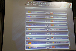 Teams after  the draw for the 2013 Men's World Championship in Spain (11 to 27 January 2013) at 10th EHF European Handball Championship Serbia 2012, on January 29, 2012 in Beogradska Arena, Belgrade, Serbia.  (Photo By Vid Ponikvar / Sportida.com)
