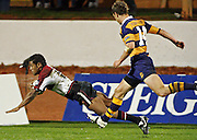 Harbour wing Vili Waqaseduadua scores a breakaway try during the Air New Zealand Cup week 3 rugby union match between Bay of Plenty and North Harbour at Blue Chip Stadium in Mt Maunganui, New Zealand on Saturday 12 August 2006. Harbour won the match 25:7. Photo: Andy Song/PHOTOSPORT