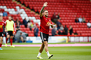 Billy Sharp of Sheffield United waves to the ground before the Premier League match between Sheffield United and Crystal Palace at Bramall Lane, Sheffield, England on 18 August 2019.