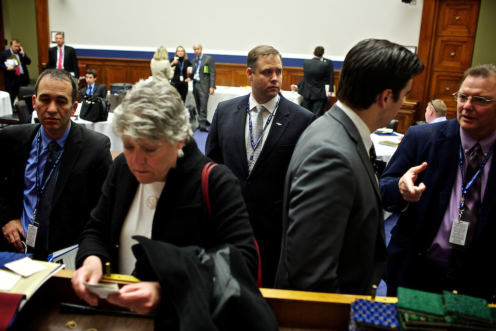 Congressman-elect Jim Bridenstine, from Oklahoma's First District, center, makes decisions about his future office, in the Rayburn House Office Building in Washington, DC on Nov. 30, 2012. The lengthly process included picking his office for his first term in Congress and talking with the architect about how to structure his new room.