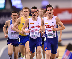 Norway brothers Henrik and Jakob Ingebrigtsen running in the Men's 3000m during day two of the European Indoor Athletics Championships at the Emirates Arena, Glasgow.