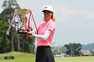 SINGAPORE - MARCH 04: Michelle Wie (USA) with the trophy during the presentation after the final round at the HSBC Women's World Championship 2018 at Sentosa Golf Club, Singapore on March 04, 2018.<br /> .<br /> .<br /> .<br /> (Photo by: Naratip Golf Srisupab/SEALs Sports Images)<br /> .<br /> Any image use must include a mandatory credit line adjacent to the content which should read: Naratip Golf Srisupab/SEALs Sports Images