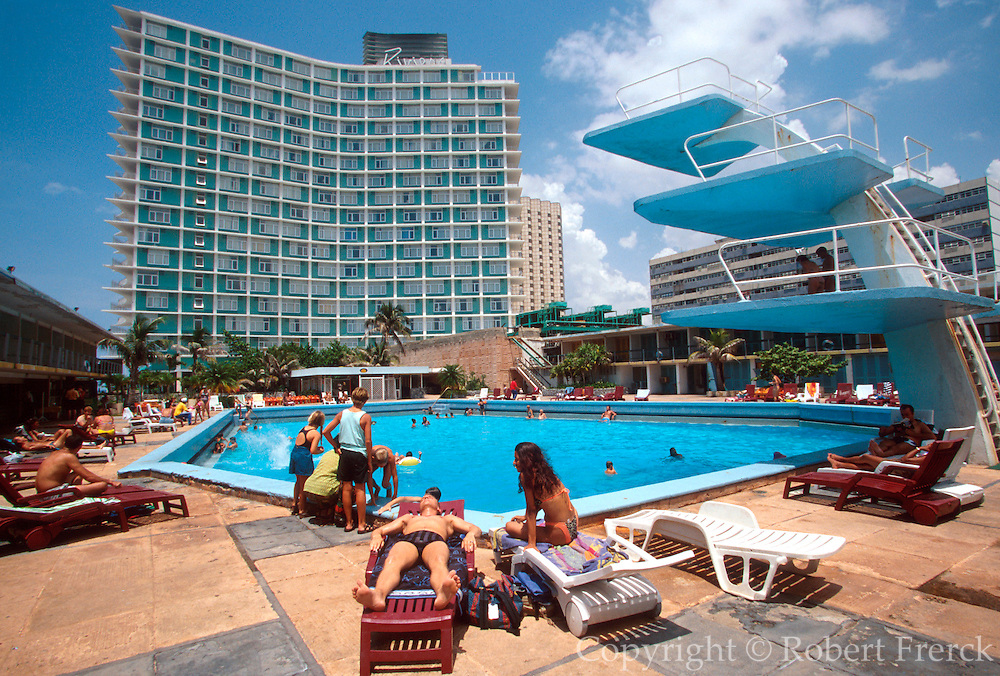 CUBA, HAVANA (VEDADO) the Hotel Riviera, a famous pre-revolution hotel and home in the 1950's of Meyer Lansky, head of the Mafia in Cuba