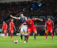 4th September 2017, Hampden Park, Glasgow, Scotland; World Cup Qualification, Group F; Scotland versus Malta; Scotland's Kieran Tierney battles for the ball with Malta's Joseph Zerafa