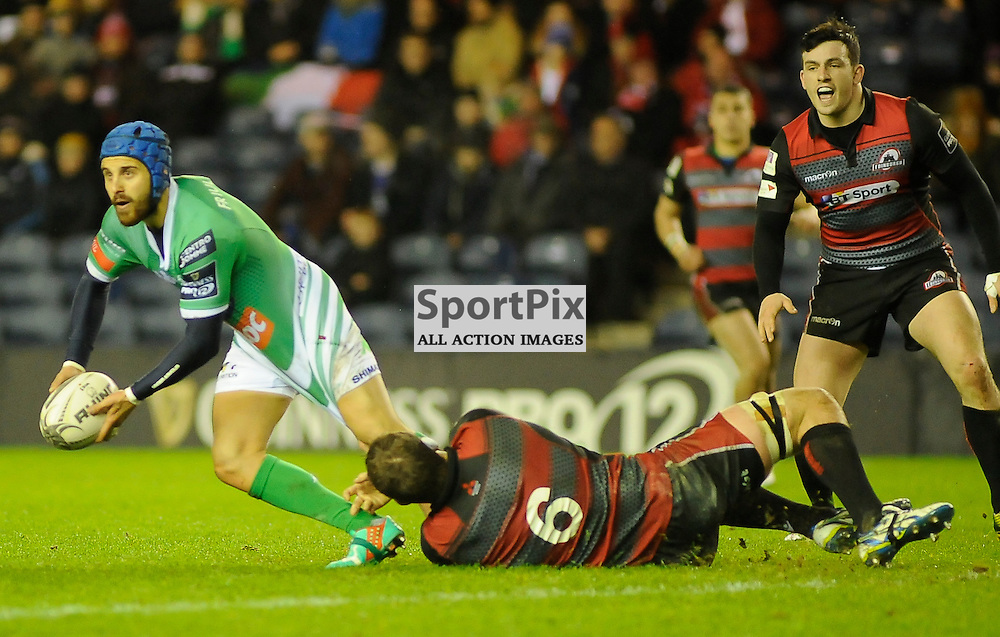 James Ambrosini is tackled by Mike Coman during the Edinburgh Rugby v Treviso Pro12 game,, ......(c) COLIN LUNN | SportPix.org.uk