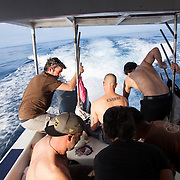 "About 35 miles out, in the middle of the Indian Ocean, we experience engine troubles. Port engine gets wrapped up in a log and dirty fuel problems plague the other engines.  The captian informs us that we dont have enough fuel to make it there on two engines. ""Turning around is not an option!"" The Rhode Island commercial fishing captains, take over, solve the problems and we continue on our way.  Traveling to Kandui, Mentawais Islands, Indonesia March  19, 2013."