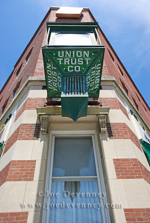 The old Union Trust Bank clock on Main Street. Ellsworth, Maine