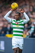 Boli Bolingoli (#23) of Celtic FC takes a throw in during the Ladbrokes Scottish Premiership match between Livingston FC and Celtic FC at The Tony Macaroni Arena, Livingston, Scotland on 6 October 2019.