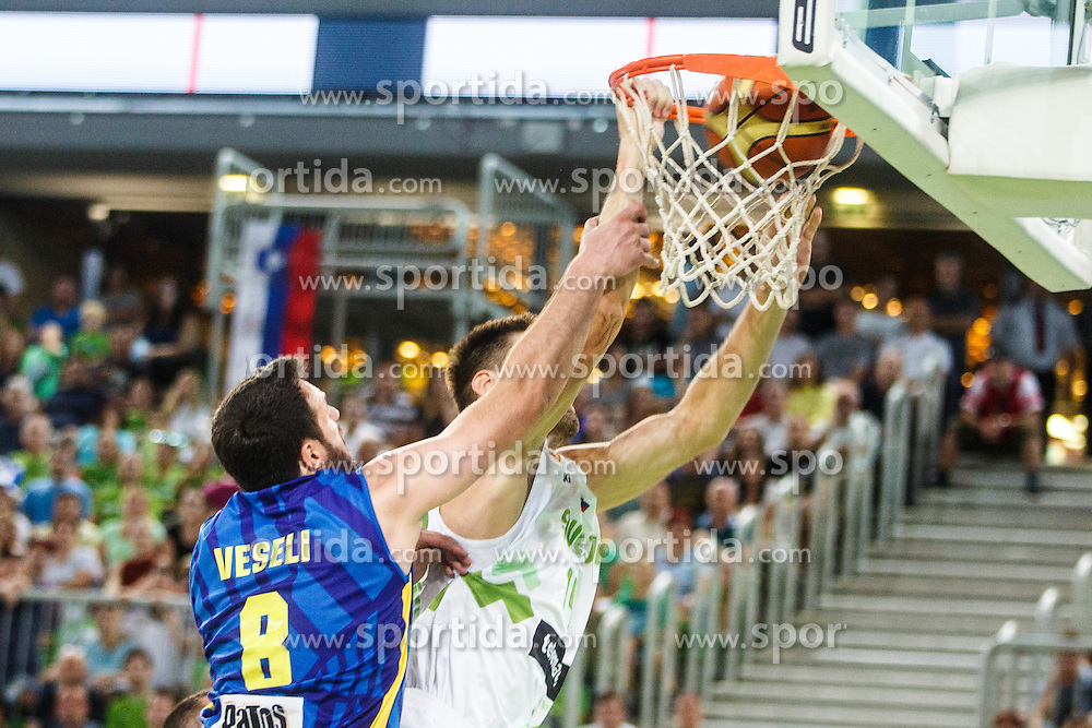Gasper Vidmar of Slovenia and Alban Veseli of Kosovo during qualifying match between Slovenia and Kosovo for European basketball championship 2017,  Arena Stozice, Ljubljana on 31th August, Slovenia. Photo by Grega Valancic / Sportida