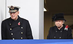 Members of The Royal Family attend Remembrance Sunday at The Cenotaph, London, UK, on the 12th November 2017. 12 Nov 2017 Pictured: Prince Philip, Duke of Edinburgh, Queen, Queen Elizabeth. Photo credit: James Whatling / MEGA TheMegaAgency.com +1 888 505 6342