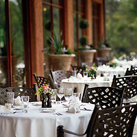 The outside patio dining area at a luxurious Country Club & Golf Resort