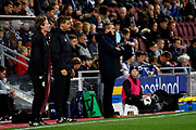 Scotland U21 Head Coach Scot Gemmill & England Head Coach Aidy Boothroyd during the U21 UEFA EUROPEAN CHAMPIONSHIPS match Scotland vs England at Tynecastle Stadium, Edinburgh, Scotland, Tuesday 16 October 2018.